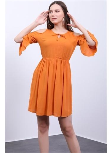 Deri Effect Kadın Hardal Omuzları Açik Kısa Elbise Hardal